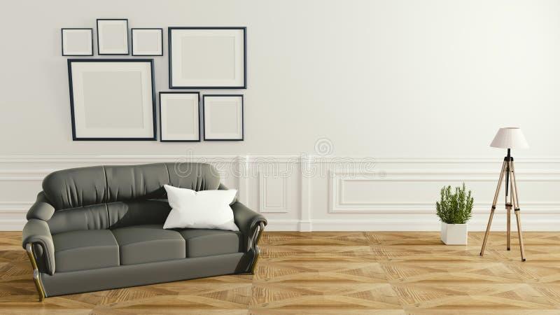 与沙发灯和绿色植物白色墙壁背景的,最小的设计,3d的现代客厅内部翻译 皇族释放例证