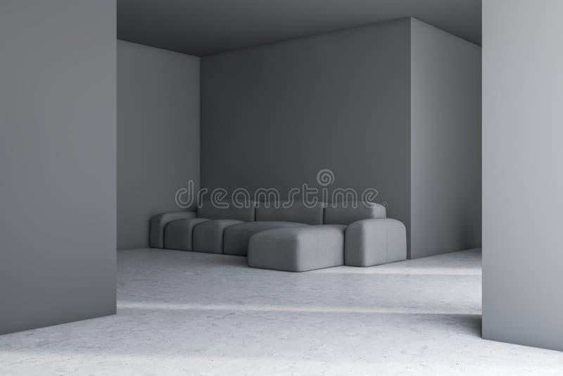 与沙发的灰色客厅内部 库存例证