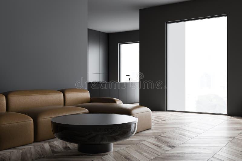 与沙发的灰色客厅和厨房内部 库存例证