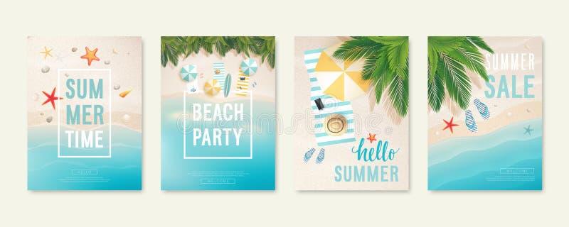 与沙子、海和棕榈树的热带海滩卡片 与海星、触发器和沙滩伞的夏天飞行物 向量例证