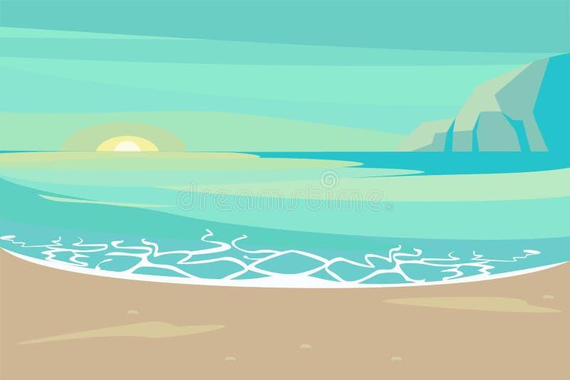 与沙子热带海滩的风景 向量例证