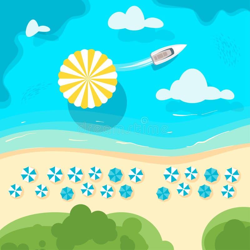 与沙滩伞的海岸 库存例证