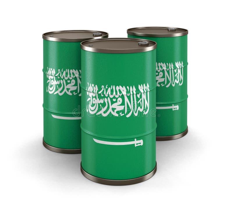 与沙特阿拉伯的旗子的油桶 库存例证