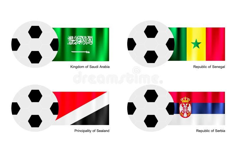 与沙特阿拉伯,塞内加尔的Sealand的足球 向量例证