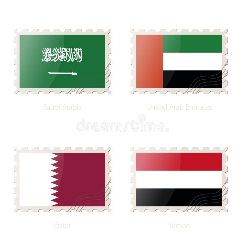 与沙特阿拉伯,阿拉伯联合酋长国,卡塔尔,也门的图象的邮票旗子 向量例证