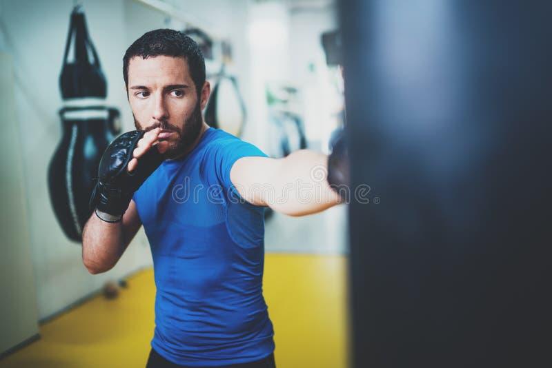 与沙袋的年轻肌肉kickboxing的战斗机实践的解雇 在被弄脏的背景的拳击 概念的健康 图库摄影