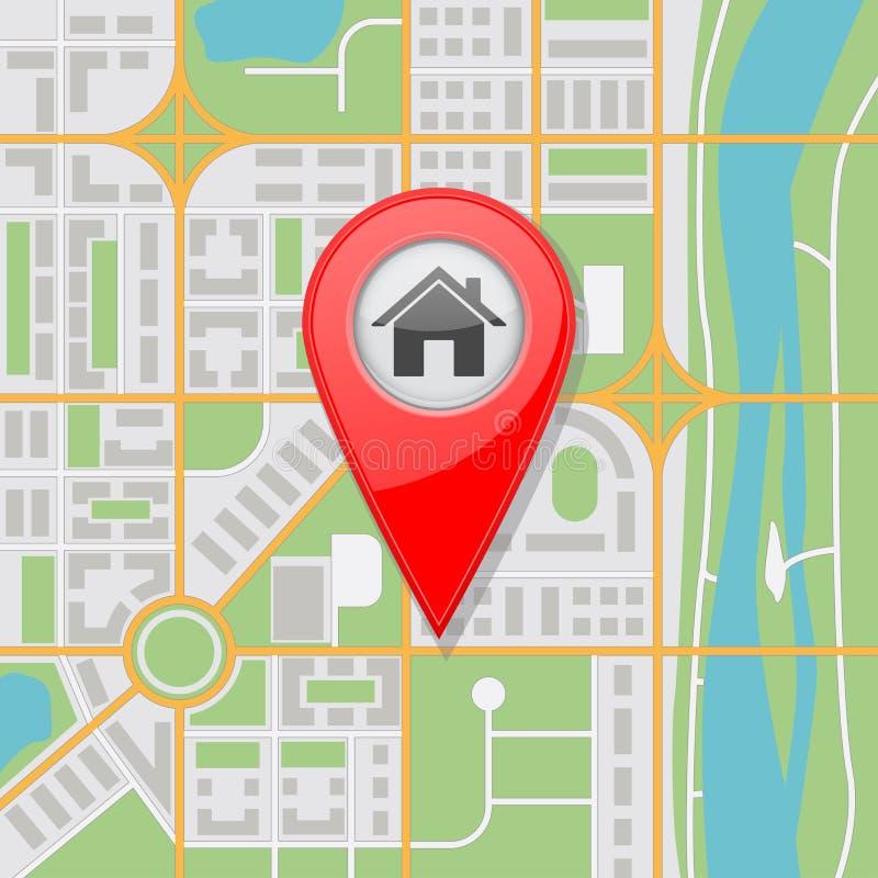 与河和家庭地点的抽象城市地图 库存例证