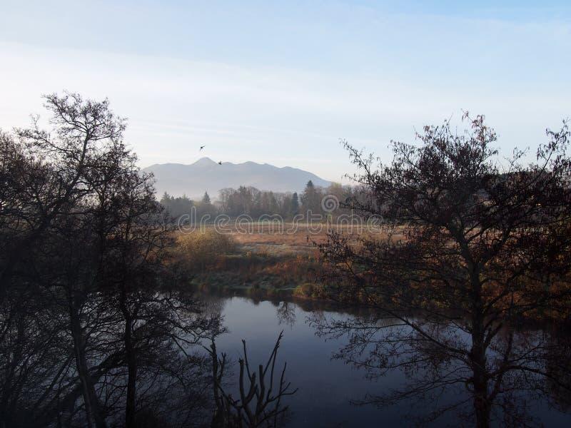 与河和山的爱尔兰风景 免版税库存照片