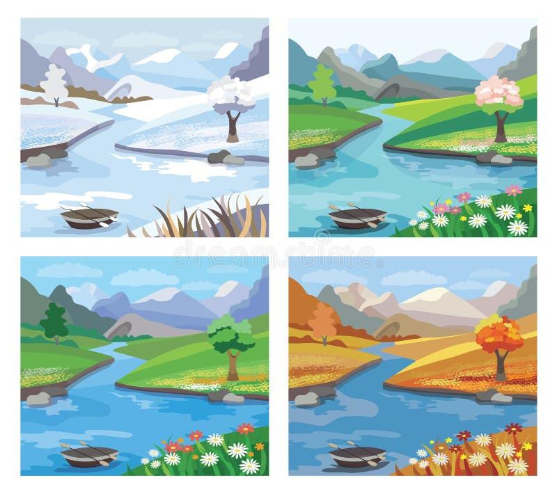 与河和山的美好的风景 四无缝的季节纹理向量 向量例证
