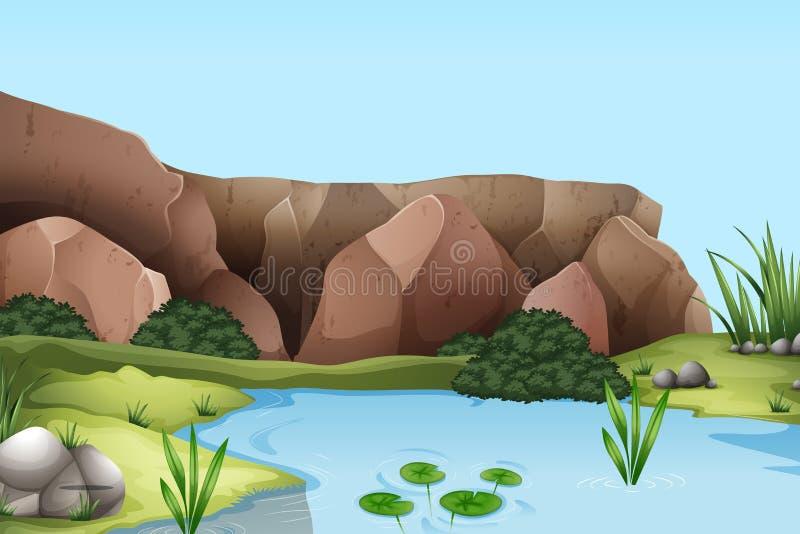与河和峭壁的场面 向量例证