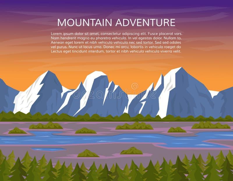 与河和杉木森林的山风景 向量例证