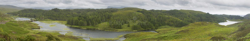 与河和森林高地的苏格兰全景风景 S 库存图片