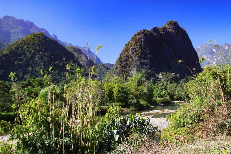 与河和石灰岩地区常见的地形小山- Vang Vieng,老挝的农村风景 库存图片