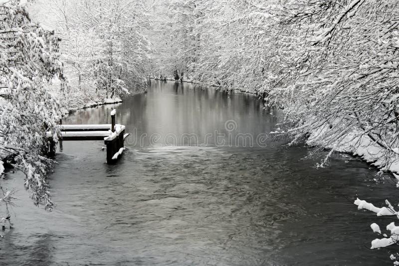 与河的冬天风景 库存照片