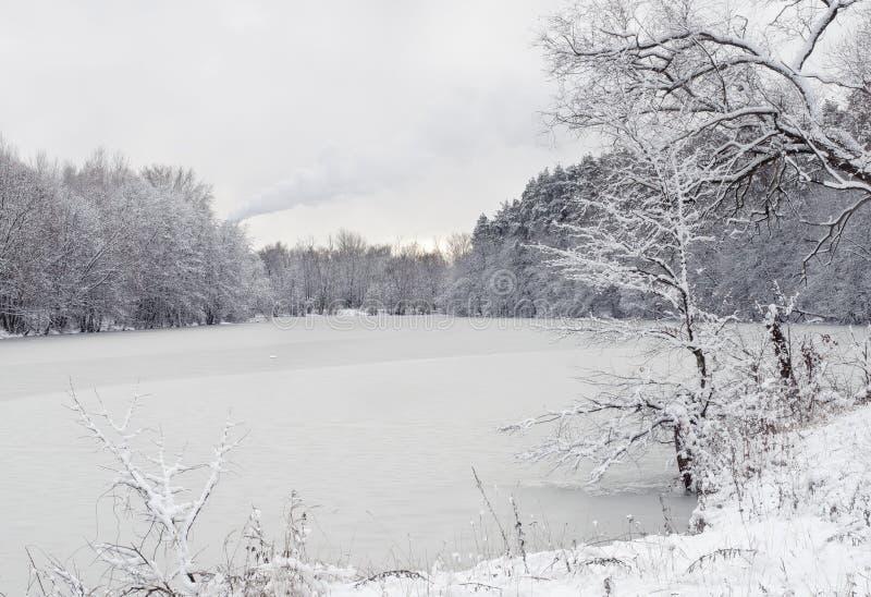 与河的冬天风景 免版税图库摄影