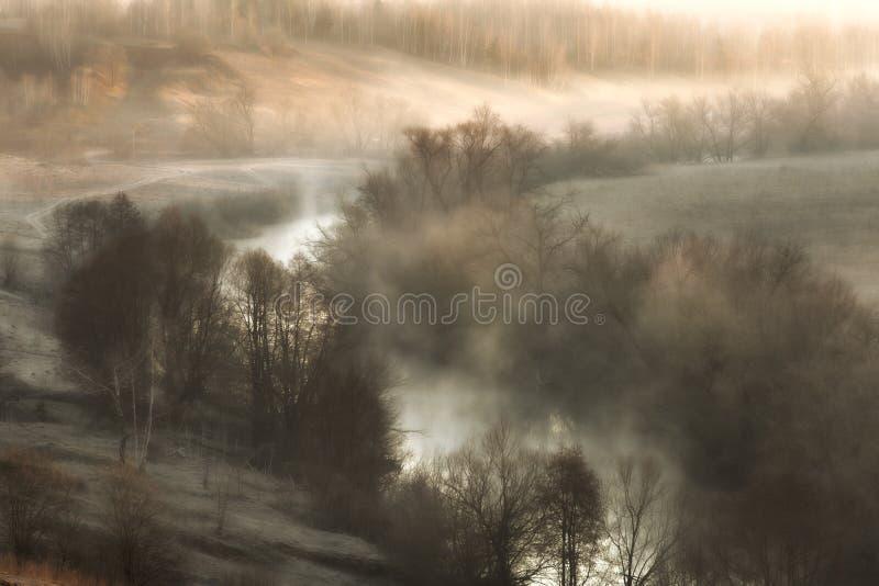 与河薄雾的超现实的风景在日出 库存图片