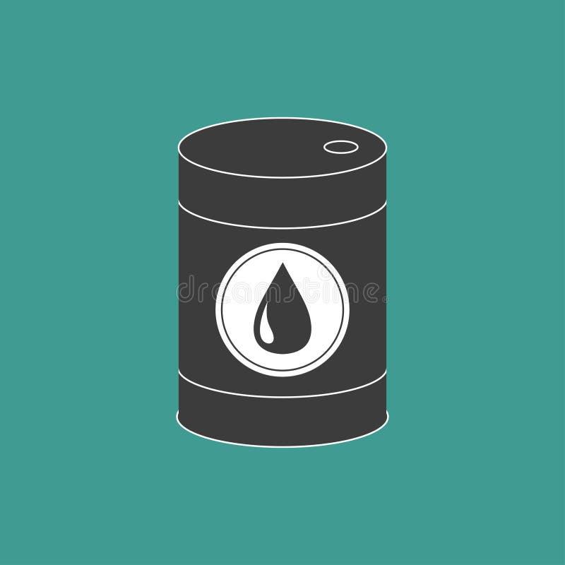 与油下落标志象的油桶 查出 绿色背景 油小滴 平的设计 向量例证