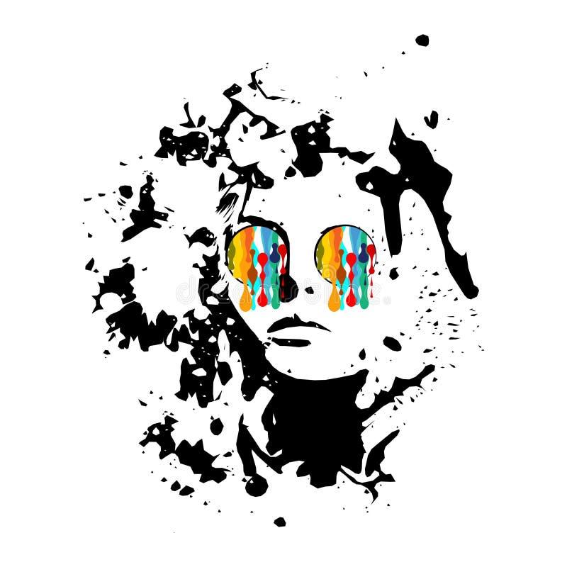 与油漆水滴的女孩佩带的玻璃从他们 图库摄影
