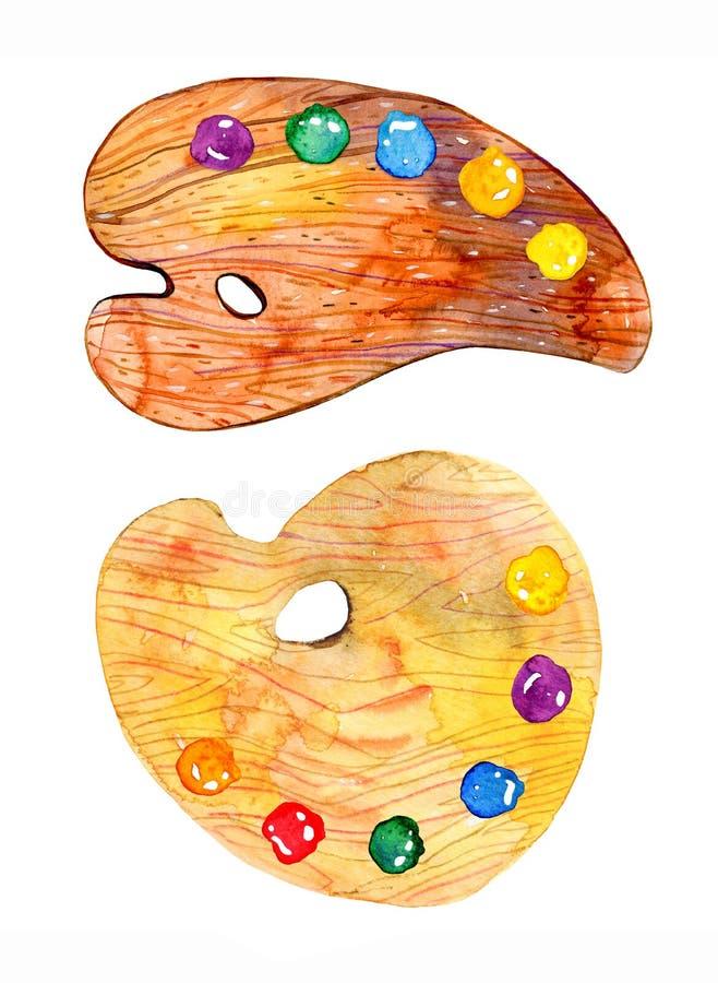 与油漆的两木艺术家palletes 手拉的剪影水彩例证 向量例证