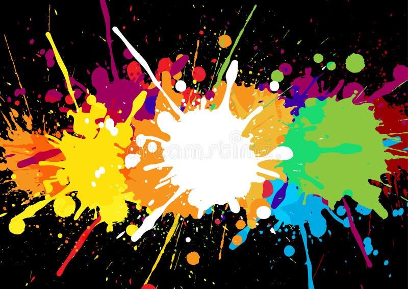 与油漆的抽象五颜六色的横幅在bl弄脏并且喷溅 皇族释放例证