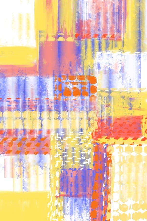 与油漆的抽象手画背景分层堆积,纹理,波纹状的作用 库存例证