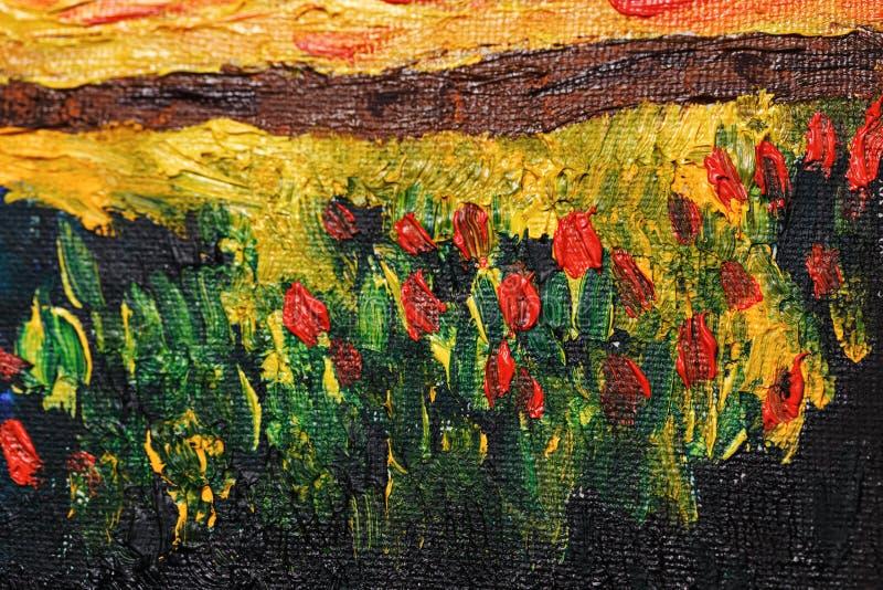 与油漆的抽象花 向量例证