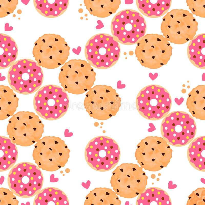 与油炸圈饼和曲奇饼的明亮的无缝的样式 库存例证