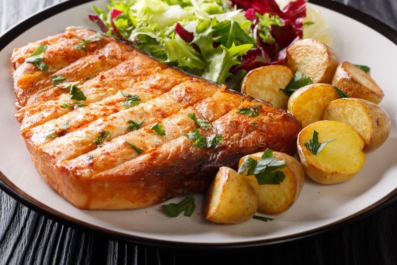 与油煎的土豆和新鲜的沙拉特写镜头小菜的烤箭鱼在板材 水平 库存图片