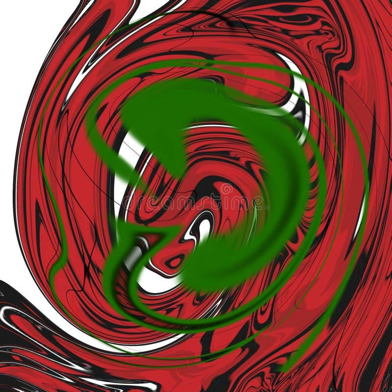 与油画条纹的大理石液体抽象背景 向量例证
