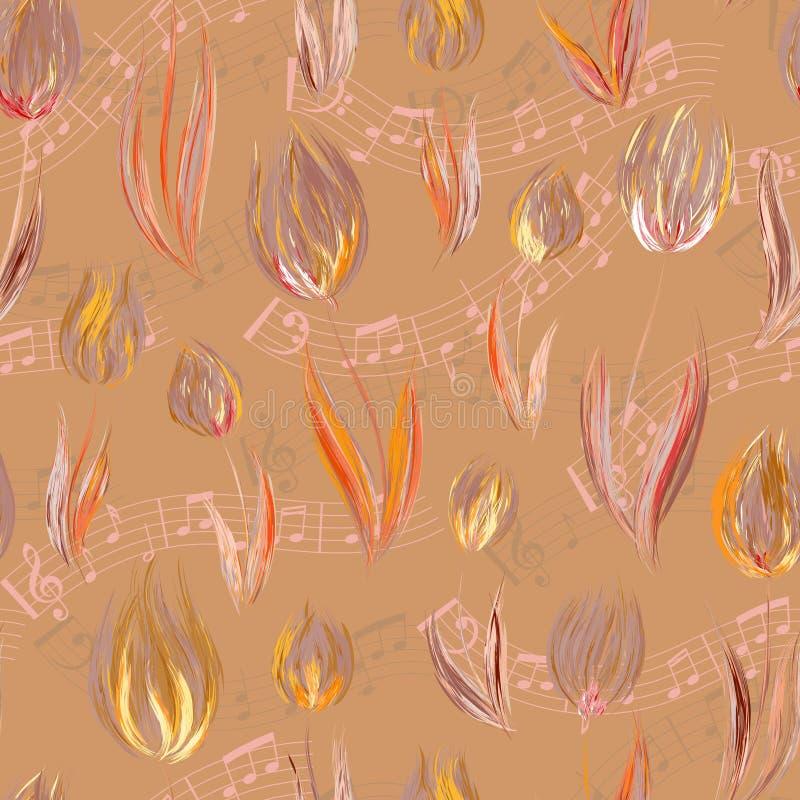 与油的明亮的无缝的样式绘了橙色淡紫色郁金香花末端笔记 库存例证