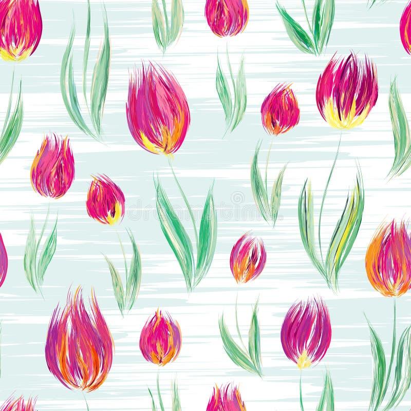 与油被绘的玫瑰色郁金香的明亮的无缝的样式开花 向量例证