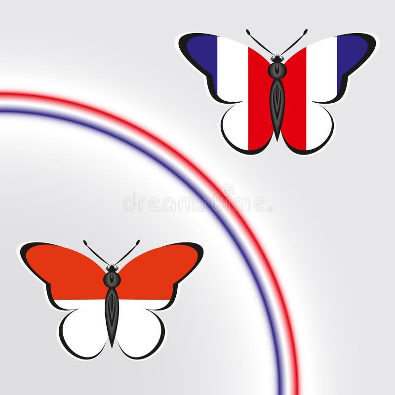 与法国和摩纳哥的旗子的蝴蝶 向量例证