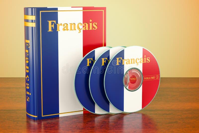 与法国和CD的圆盘旗子的法国书在木桌上 皇族释放例证