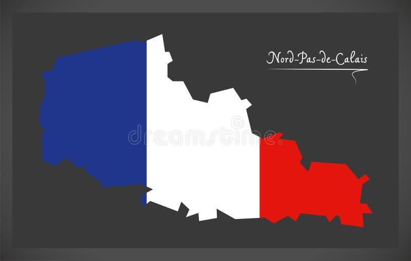 与法国国旗例证的Nord舞步de加来地图 库存例证