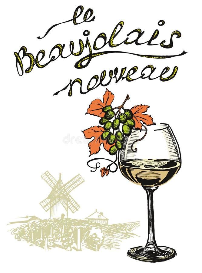 与法国文本的新的酒博若莱红葡萄酒nouveau 皇族释放例证