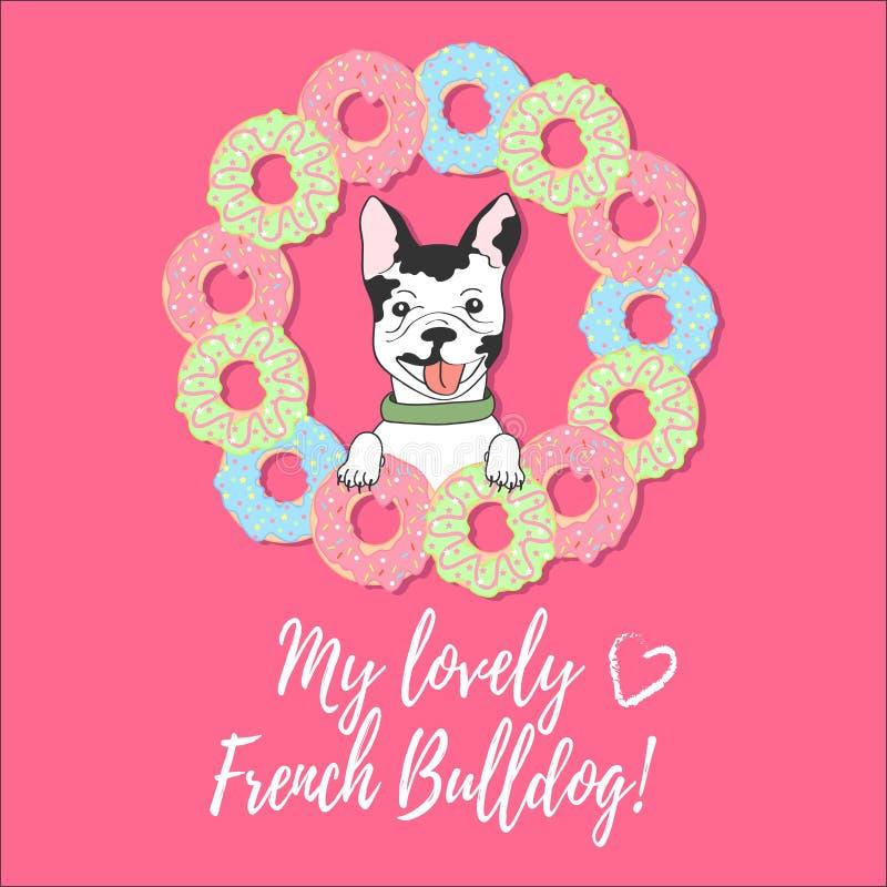 与法国牛头犬、油炸圈饼和文本的逗人喜爱的卡片在桃红色背景 库存例证