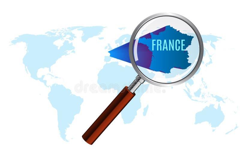 与法国的世界地图由寸镜扩大化了 向量例证