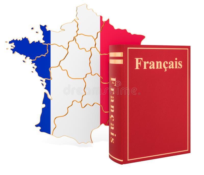 与法国的地图,3D的法语书翻译 库存例证