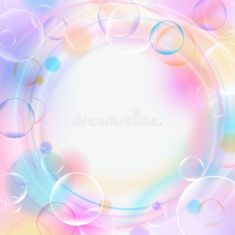 与泡影、光、圈子和空的空间的五颜六色的背景 淡色背景 也corel凹道例证向量 库存例证