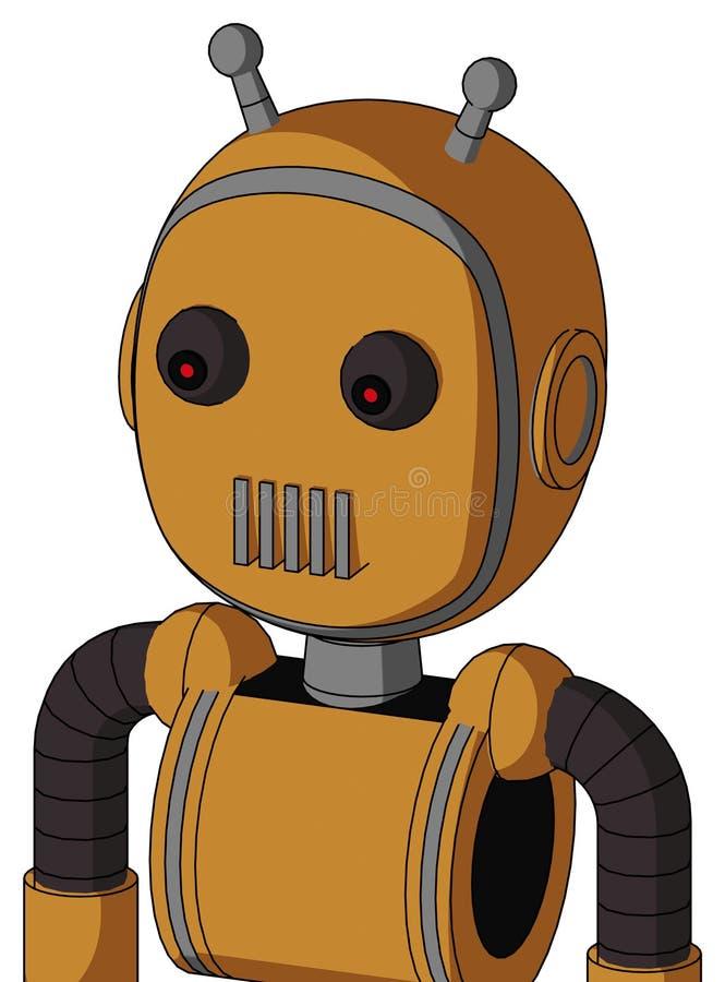 与泡影头和出气孔嘴和红眼睛和双重天线的桃子Droid 皇族释放例证