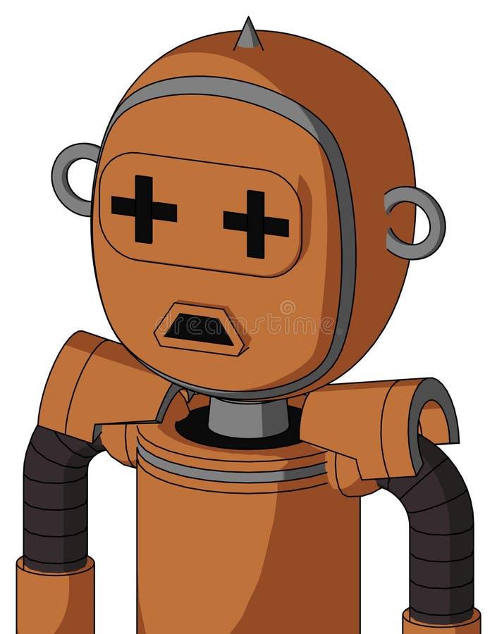 与泡影头和哀伤的嘴和加号眼睛和钉技巧的橙色Droid 皇族释放例证