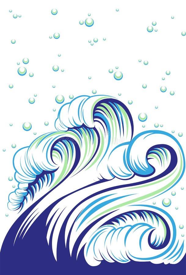与泡影的蓝色公海波浪 向量例证