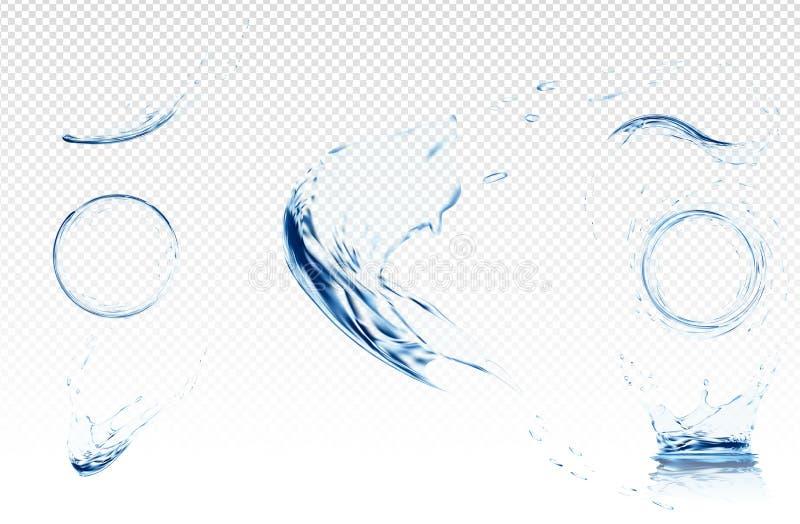 与泡影的透明水波 在浅兰的颜色的传染媒介例证 纯净和生气勃勃概念 网站 皇族释放例证