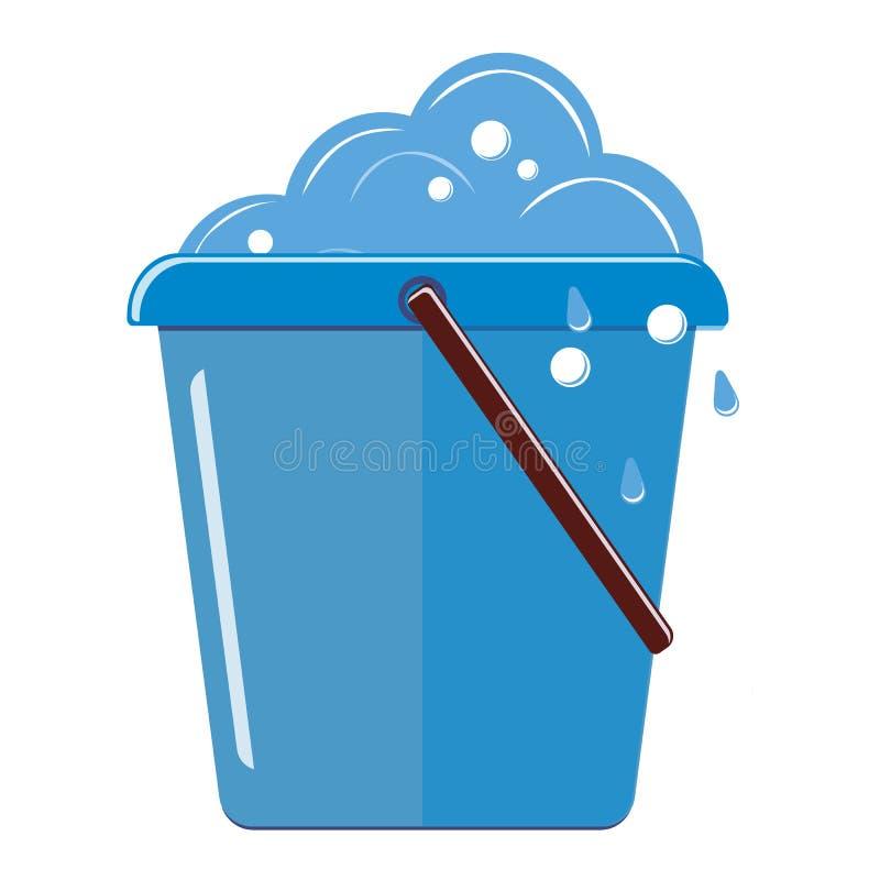 与泡沫和泡影的塑料满桶 背景查出的白色 向量 向量例证