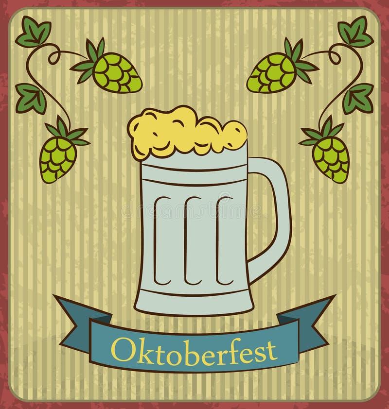 与泡沫和蛇麻草分支的玻璃杯子啤酒 向量例证