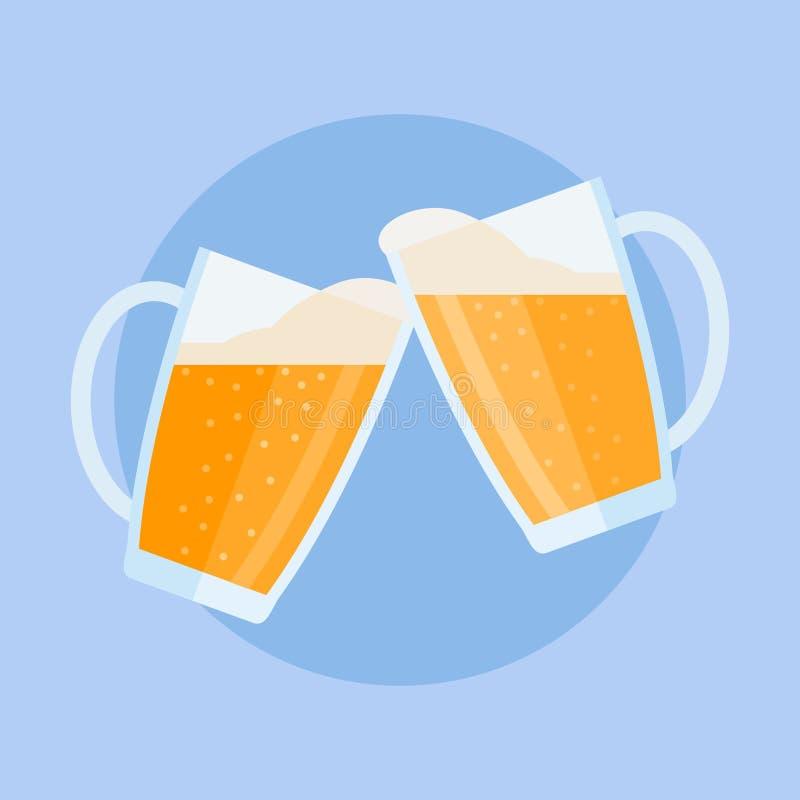 与泡沫的使叮当响的啤酒杯 平的样式传染媒介例证 库存例证