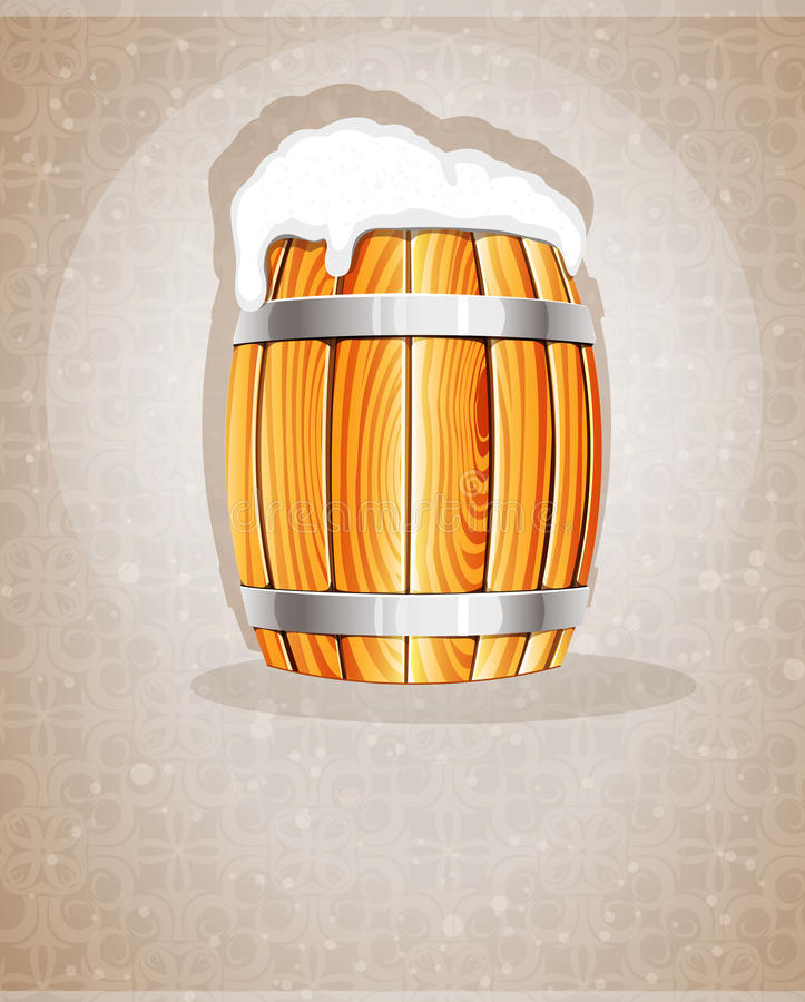 与泡沫的啤酒桶 向量例证