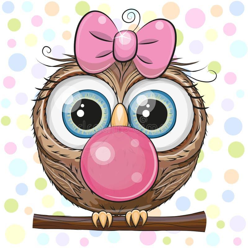 与泡泡糖的逗人喜爱的动画片猫头鹰 向量例证