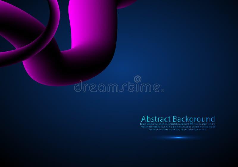 与波形的可变的背景在桃红色、紫色和蓝色 3d未来派流程海报 r 向量例证