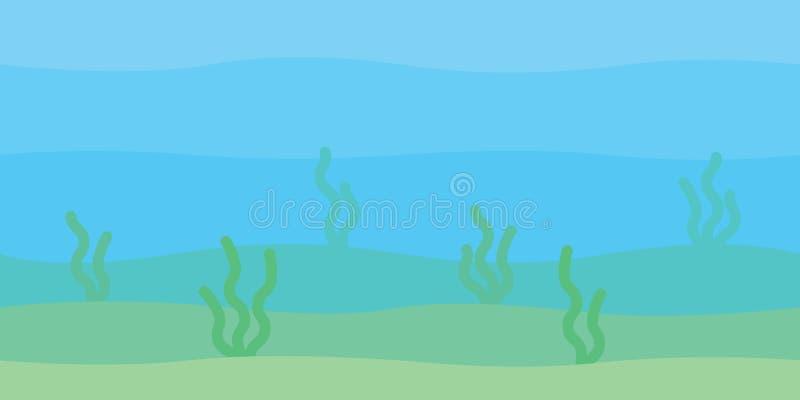 与波浪、海底和海草的软的水下的风景 海里的风景 在简单minimalistic的传染媒介例证 库存例证